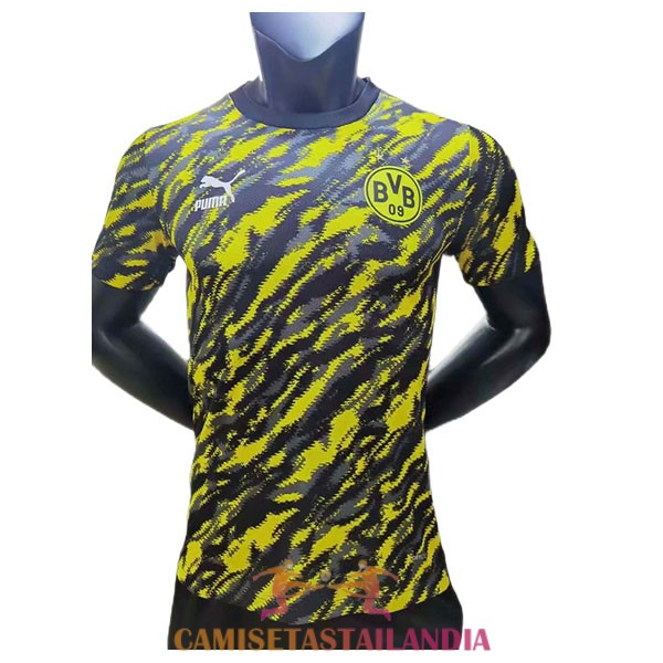 camiseta camuflaje amarillo negro dortmund formacion version player 2021-2022