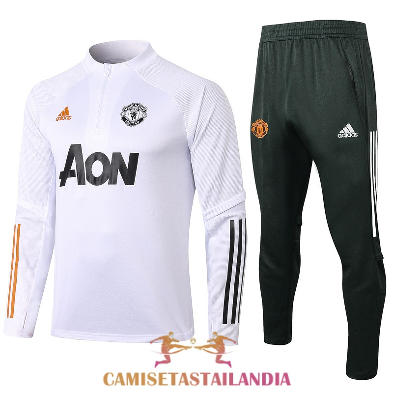 chandal blanco manchester united cremallera 2020-2021