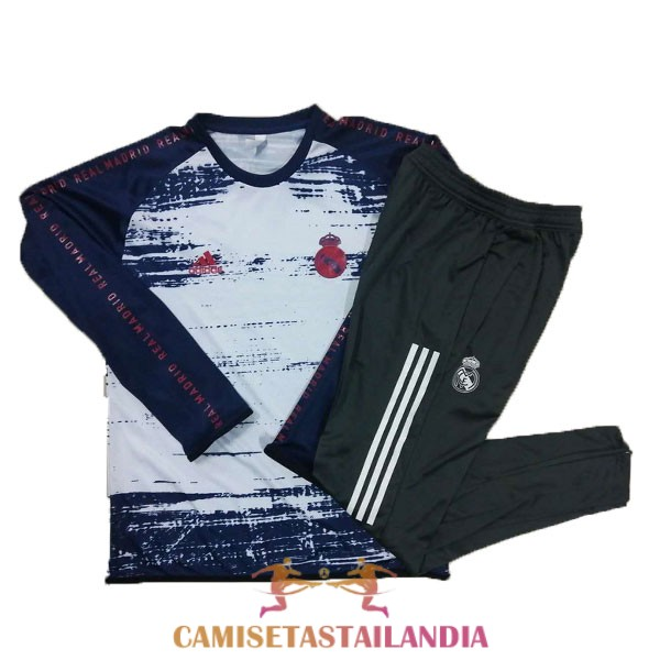 chandal blanco negro real madrid cuello redondo 2020-2021