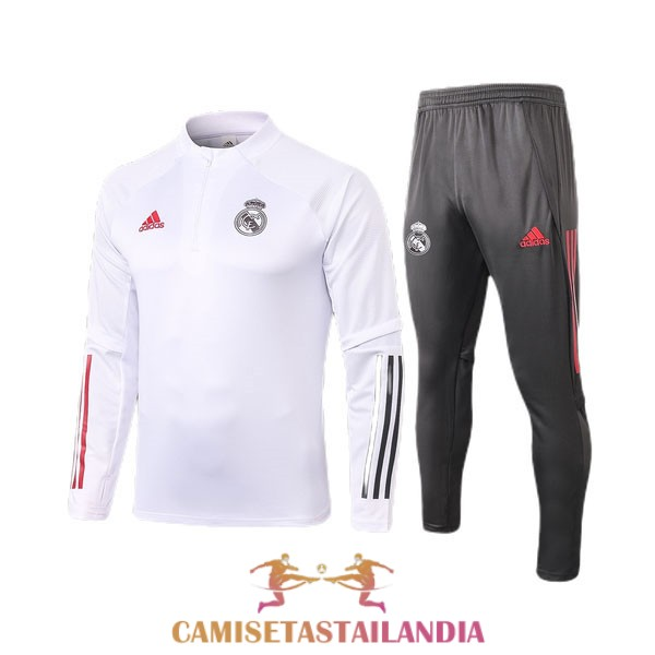 chandal blanco nino real madrid cremallera 2020-2021